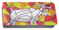 Reindeer On Stained Glass  Portable Battery Charger