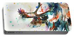 Portable Battery Charger featuring the painting Reindeer by Zaira Dzhaubaeva