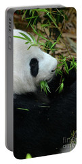 Relaxed Panda Bear Eats With Green Leaves In Mouth Portable Battery Charger