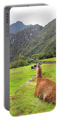 Relaxing Llama In Machu Picchu Portable Battery Charger