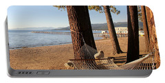 Relaxing On Lake Tahoe Portable Battery Charger by Pat Cook