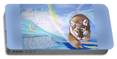 Portable Battery Charger featuring the painting Remembering Childhood Dreams by Phyllis Kaltenbach