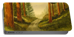 Portable Battery Charger featuring the painting Remembering Redwoods by Marilyn Jacobson