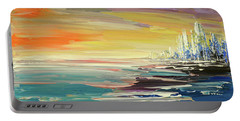 Portable Battery Charger featuring the painting Remote Harmonies by Tatiana Iliina