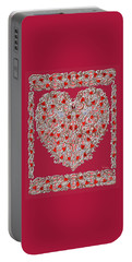 Renaissance Style Heart With Dark Red Background Portable Battery Charger