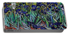Portable Battery Charger featuring the digital art replica of Van Gogh irises by Pemaro