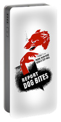 Portable Battery Charger featuring the mixed media Report Dog Bites - Wpa by War Is Hell Store