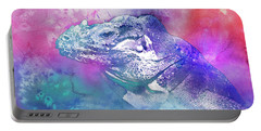 Portable Battery Charger featuring the mixed media Reptile Profile by Jutta Maria Pusl