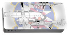 Portable Battery Charger featuring the digital art Republic A-10 Thunderbolt II by Arthur Eggers