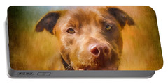 Rescued Chocolate Lab Portrait Portable Battery Charger
