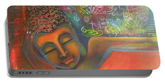 Buddha Resting Against A Colorful Backdrop Portable Battery Charger by Prerna Poojara