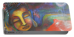 Buddha Resting Under The Full Moon  Portable Battery Charger by Prerna Poojara