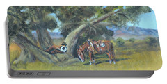 Portable Battery Charger featuring the painting Resting Cowboy Painting A Study by Katalin Luczay