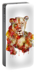 Resting Lioness In Watercolor Portable Battery Charger
