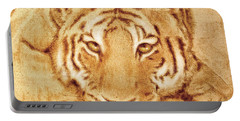Portable Battery Charger featuring the tapestry - textile Resting Tiger by Dale Loos Jr