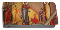 Portable Battery Charger featuring the painting Resurrection Of Lazarus by Munir Alawi