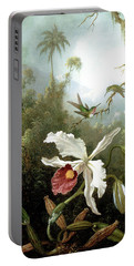 Retouched Masters - Orchid And Hummingbirds In Tropical Forest Portable Battery Charger