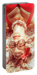 Retro 50s Beach Pinup Girl Portable Battery Charger