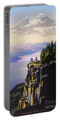Portable Battery Charger featuring the digital art Retro Beautiful Bc Travel Poster by Sassan Filsoof