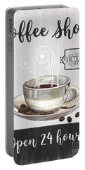 Portable Battery Charger featuring the painting Retro Coffee Shop 1 by Debbie DeWitt