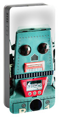 Retro Eighties Blue Robot Portable Battery Charger
