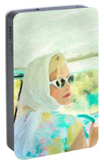 Portable Battery Charger featuring the digital art Retro Girl - Road Trip No.1 by Serge Averbukh