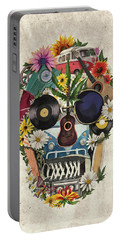 Retro Hippie Skull Portable Battery Charger