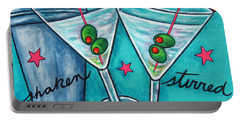 Retro Martini Portable Battery Charger by Lisa  Lorenz