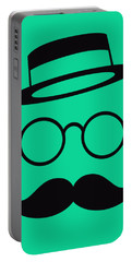 Retro Minimal Vintage Face With Moustache And Glasses Portable Battery Charger