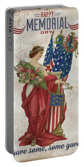 Portable Battery Charger featuring the digital art Retro Patriotic-b by Jean Plout