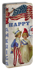 Portable Battery Charger featuring the digital art Retro Patriotic-c by Jean Plout