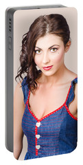 Retro Pin-up Girl In Blue Denim Dress Portable Battery Charger