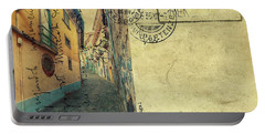 retro postcard of Porto, Portugal  Portable Battery Charger