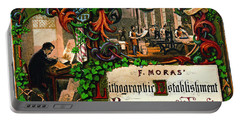 Portable Battery Charger featuring the photograph Retro Printing Ad 1867 by Padre Art