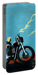 Portable Battery Charger featuring the painting Retro Scrambler Motorbike by Sassan Filsoof