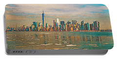 Portable Battery Charger featuring the digital art Retro Style Skyline Of New York City, United States by Anthony Murphy