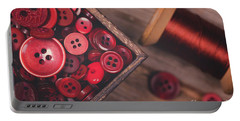 Retro Styled Red Buttons And Thread Portable Battery Charger