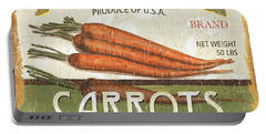 Retro Veggie Label 2 Portable Battery Charger by Debbie DeWitt