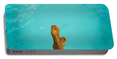 Retro Young Girl Relaxing Her Feet At Swimming Pool Portable Battery Charger