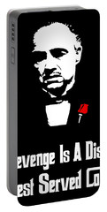 Revenge Is A Dish Best Served Cold - The Godfather Poster Portable Battery Charger