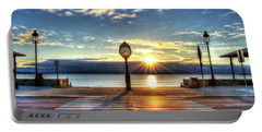 Revere Beach Clock At Sunrise Angled Long Shadow Revere Ma Portable Battery Charger