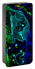 Rainbow Zentangle Elephant With Black Background Portable Battery Charger