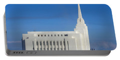 Rexburg Temple Rises Above The Mist Portable Battery Charger