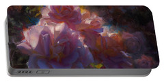 Portable Battery Charger featuring the painting Rhapsody Roses - Flowers In The Garden Painting by Karen Whitworth
