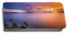 Rhine Bridge Sunset Portable Battery Charger
