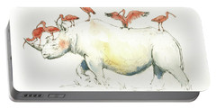 Rhino And Ibis Portable Battery Charger by Juan Bosco
