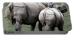 Rhinoceros Mother And Calf In Wild Portable Battery Charger