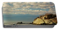 Rhode Island Beach In Winter Portable Battery Charger by Nancy De Flon