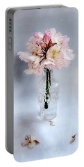 Portable Battery Charger featuring the photograph Rhododendron Bloom In A Glass Bottle by Louise Kumpf