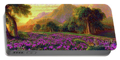 Rhododendrons, Rabbits And Radiant Memories Portable Battery Charger by Jane Small